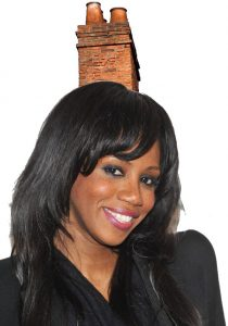 Shaznay Lewis with a chimney on her